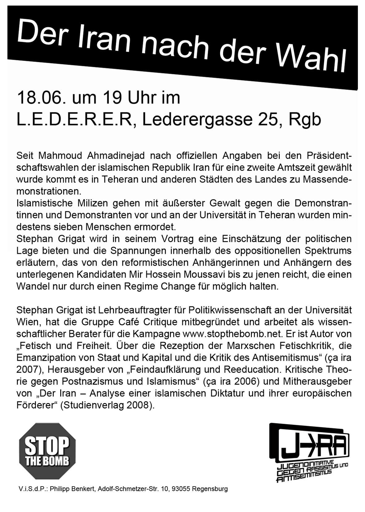 Der Iran nach der Wahl 2009. Flyer zum Vortrag von Stephan Grigat